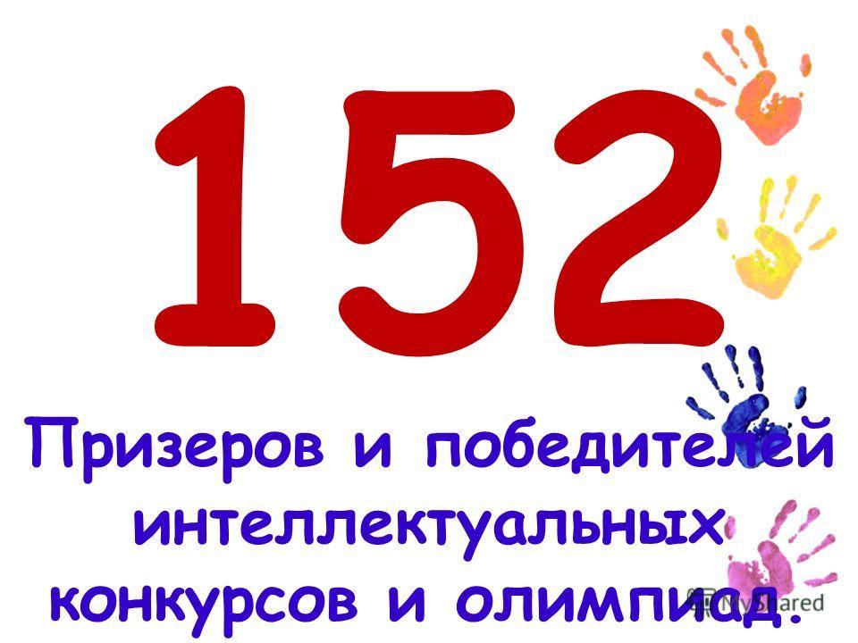 152 Призеров и победителей интеллектуальных конкурсов и олимпиад.