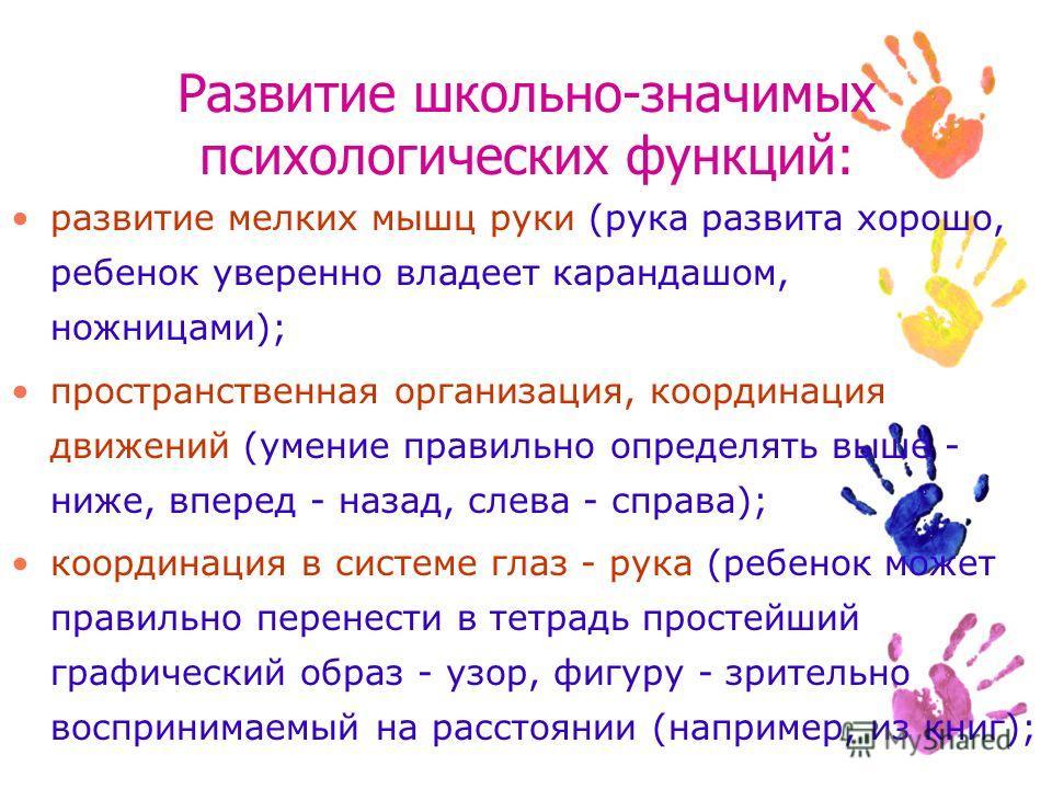 Развитие школьно-значимых психологических функций: развитие мелких мышц руки (рука развита хорошо, ребенок уверенно владеет карандашом, ножницами); пространственная организация, координация движений (умение правильно определять выше - ниже, вперед -