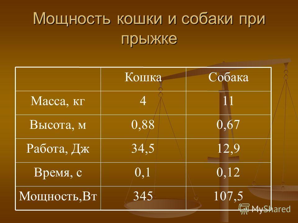 Мощность кошки и собаки при прыжке 12,934,5Работа, Дж 107,5345Мощность,Вт 0,120,1Время, с 0,670,88Высота, м 114Масса, кг Собака Кошка