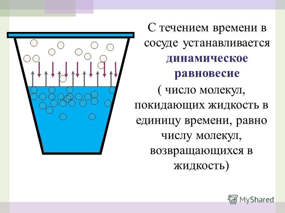 С течением времени в сосуде устанавливается динамическое равновесие ( число молекул, покидающих жидкость в единицу времени, равно числу молекул, возвращающихся в жидкость)