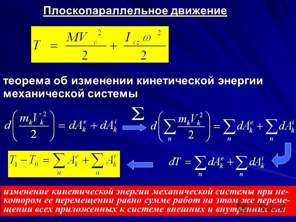 Вращательное движение механической системы Кинетическая энергия механической системы при ее вращательном движении равна половине произведения ее момента инерции, взятого относительно оси вращения, на квадрат угловой скорости