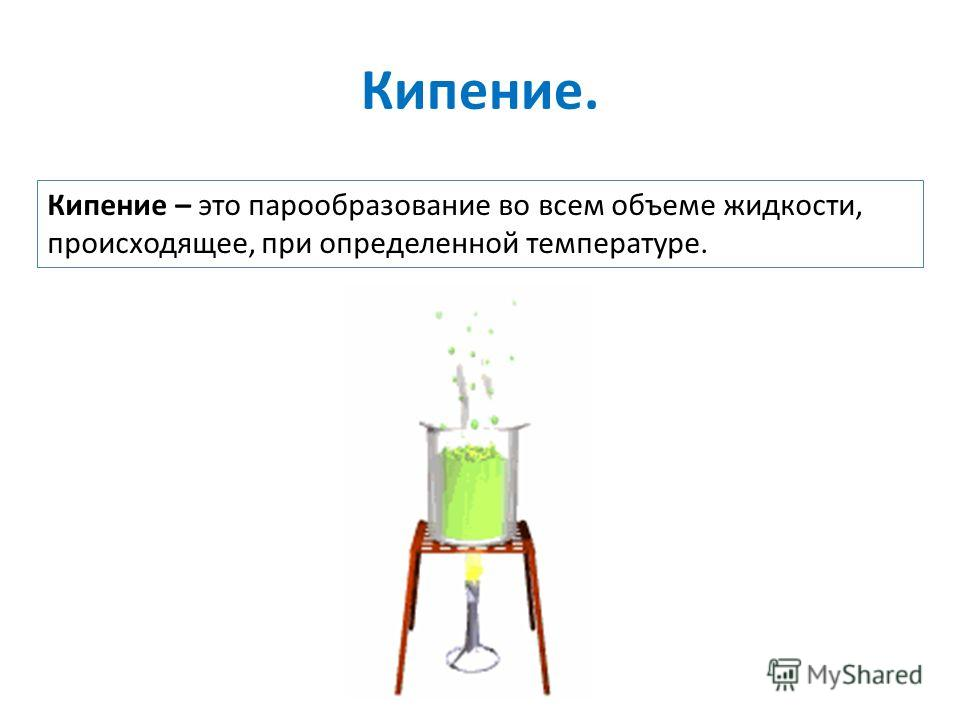 Кипение. Кипение – это парообразование во всем объеме жидкости, происходящее, при определенной температуре.