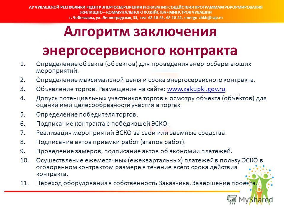 Алгоритм заключения энергосервисного контракта 1. Определение объекта (объектов) для проведения энергосберегающих мероприятий. 2. Определение максимальной цены и срока энергосервисного контракта. 3. Объявление торгов. Размещение на сайте: www.zakupki