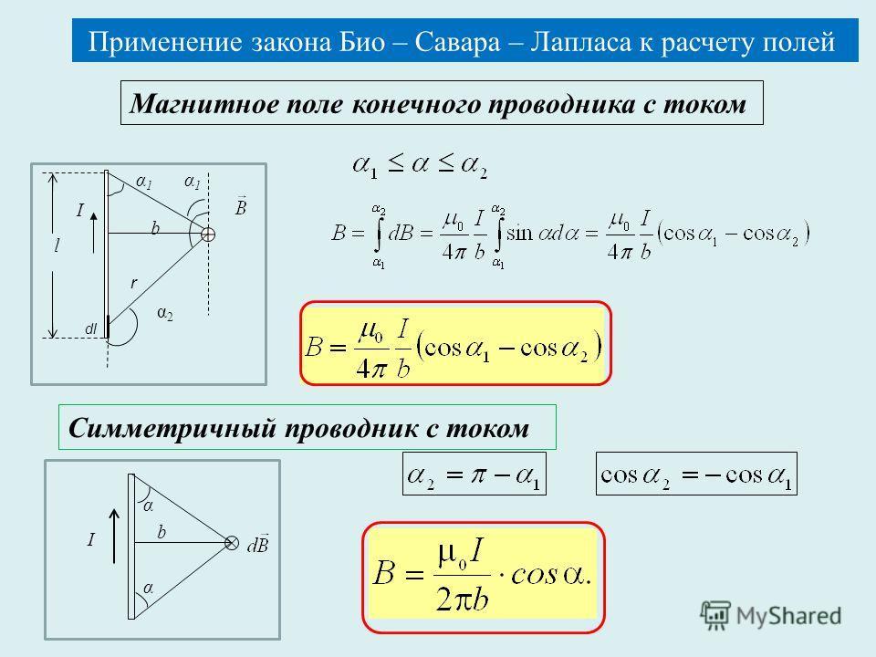 Применение закона Био – Савара – Лапласа к расчету полей Магнитное поле конечного проводника c током I r l dl b α1α1 α1α1 α2α2 Симметричный проводник с током α α b I Применение закона Био – Савара – Лапласа к расчету полей