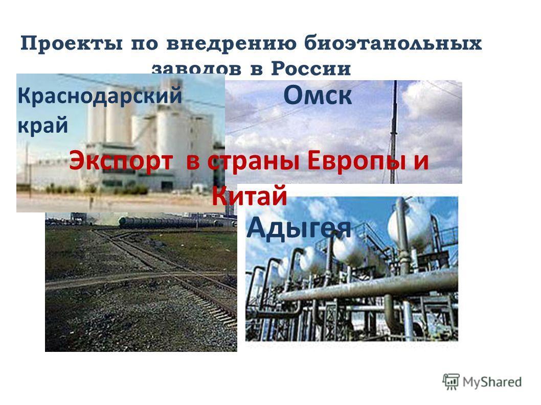 Проекты по внедрению биоэтанольных заводов в России Краснодарский край Омск Адыгея Экспорт в страны Европы и Китай