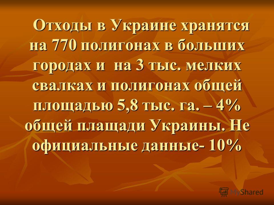 Отходы в Украине хранятся на 770 полигонах в больших городах и на 3 тыс. мелких свалках и полигонах общей площадью 5,8 тыс. га. – 4% общей плащади Украины. Не официальные данные- 10% Отходы в Украине хранятся на 770 полигонах в больших городах и на 3