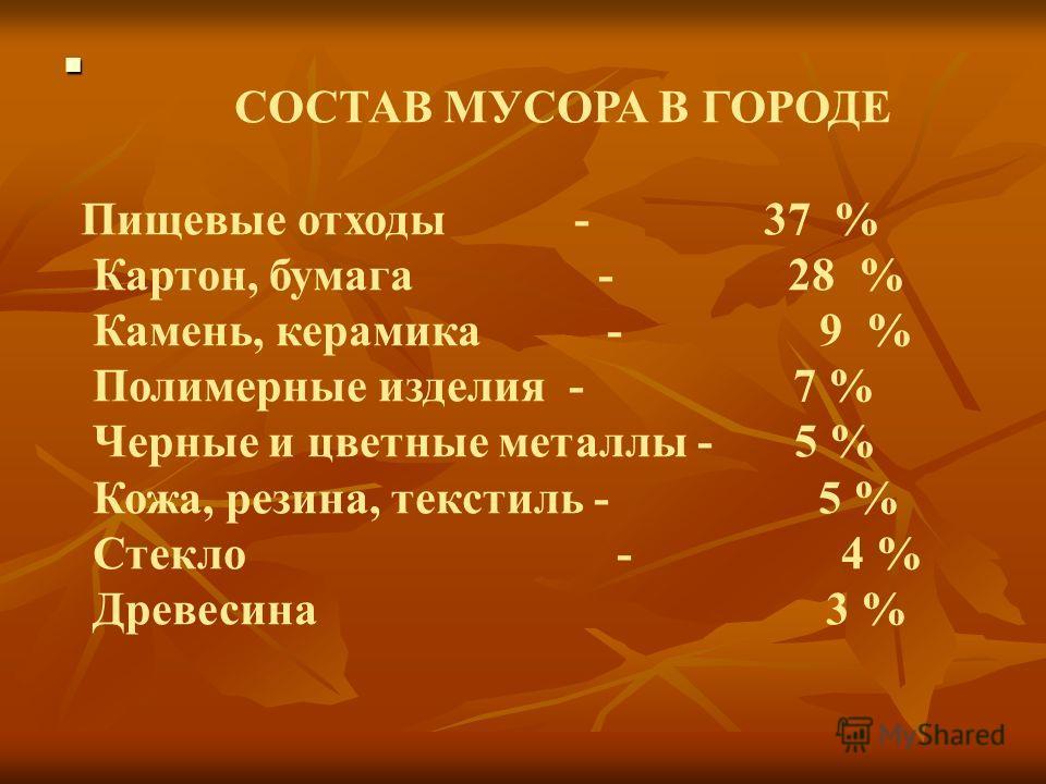 СОСТАВ МУСОРА В ГОРОДЕ Пищевые отходы - 37 % Картон, бумага - 28 % Камень, керамика - 9 % Полимерные изделия - 7 % Черные и цветные металлы - 5 % Кожа, резина, текстиль - 5 % Стекло - 4 % Древесина 3 %