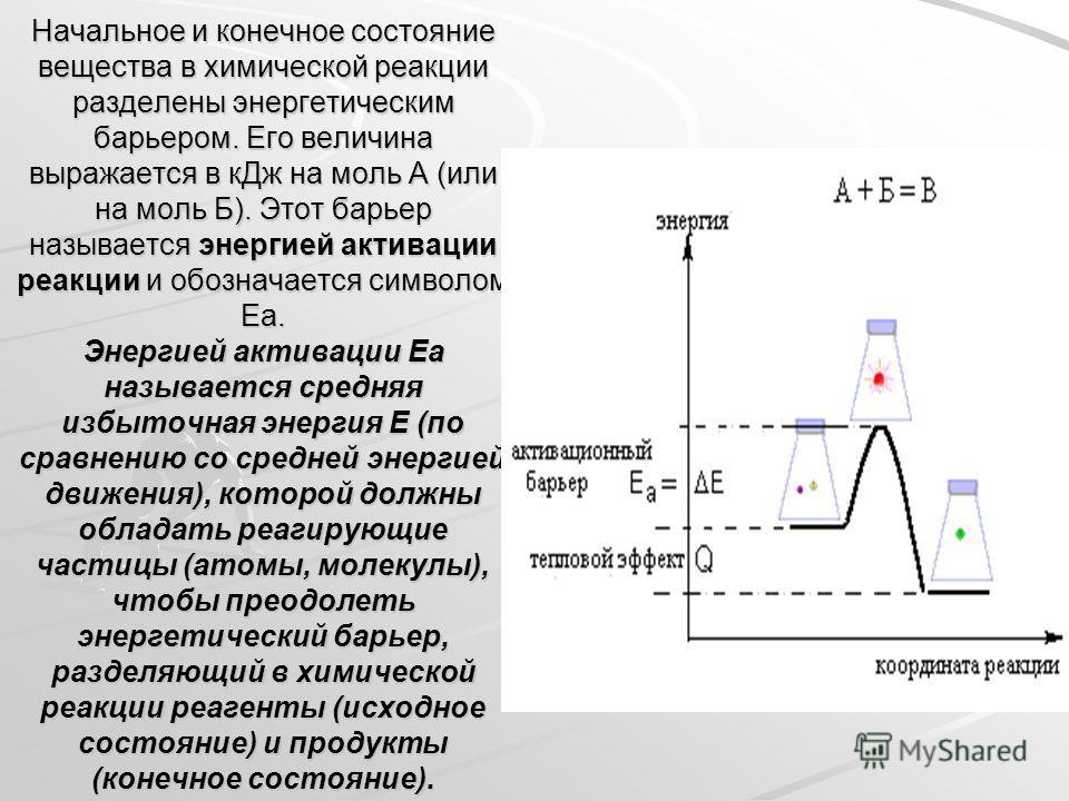 Начальное и конечное состояние вещества в химической реакции разделены энергетическим барьером. Его величина выражается в к Дж на моль А (или на моль Б). Этот барьер называется энергией активации реакции и обозначается символом Еа. Энергией активации