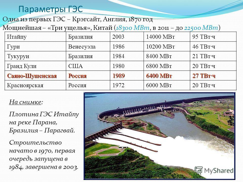 16 Параметры ГЭС Одна из первых ГЭС – Крэгсайт, Англия, 1870 год Мощнейшая – «Три ущелья», Китай (18300 МВт, в 2011 – до 22500 МВт) Итайпу Бразилия 200314000 МВт 95 ТВт·ч Гури Венесуэла 198610200 МВт 46 ТВт·ч Тукуруи Бразилия 19848400 МВт 21 ТВт·ч Гр