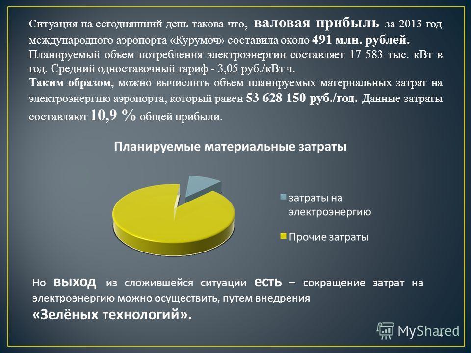 Ситуация на сегодняшний день такова что, валовая прибыль за 2013 год международного аэропорта «Курумоч» составила около 491 млн. рублей. Планируемый объем потребления электроэнергии составляет 17 583 тыс. к Вт в год. Средний одноставочный тариф - 3,0