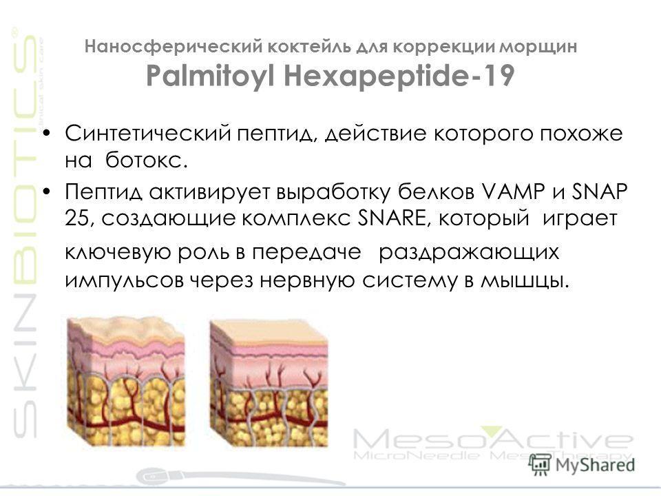 Наносферический коктейль для коррекции морщин Palmitoyl Hexapeptide-19 Синтетический пептид, действие которого похоже на ботокс. Пептид активирует выработку белков VAMP и SNAP 25, создающие комплекс SNARE, который играет ключевую роль в передаче разд