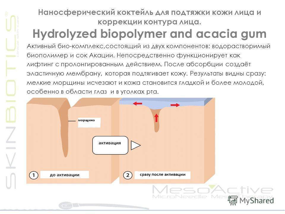 Наносферический коктейль для подтяжки кожи лица и коррекции контура лица. Ηydrolyzed biopolymer and acacia gum Активный био-комплекс,состоящий из двух компонентов: водорастворимый биополимер и сок Акации. Непосредственно функционирует как лифтинг с п