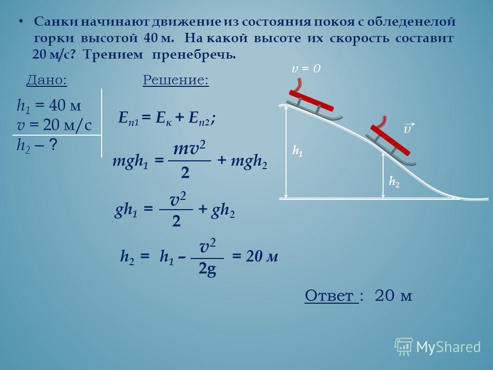 Санки начинают движение из состояния покоя с обледенелой горки высотой 40 м. На какой высоте их скорость составит 20 м/с? Трением пренебречь. Дано: h 1 = 40 м v = 20 м/с h 2 – ? Решение: mgh 1 = mv 2 2 + mgh 2 gh 1 = v2v2 2 + gh 2 h1h1 h2h2 v = 0 v Е