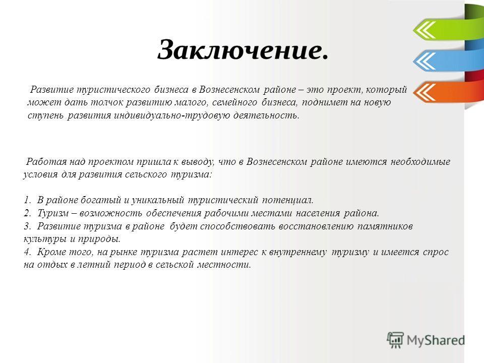 Работая над проектом пришла к выводу, что в Вознесенском районе имеются необходимые условия для развития сельского туризма: 1. В районе богатый и уникальный туристический потенциал. 2. Туризм – возможность обеспечения рабочими местами населения район