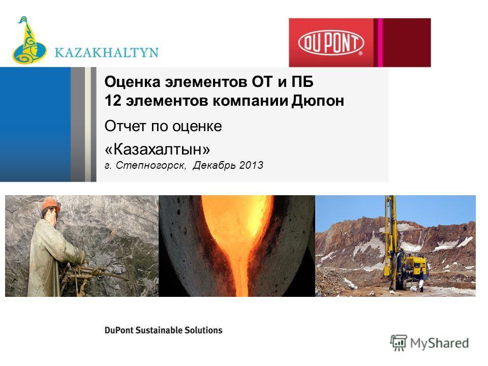 Оценка элементов ОТ и ПБ 12 элементов компании Дюпон Отчет по оценке «Казахалтын» г. Степногорск, Декабрь 2013