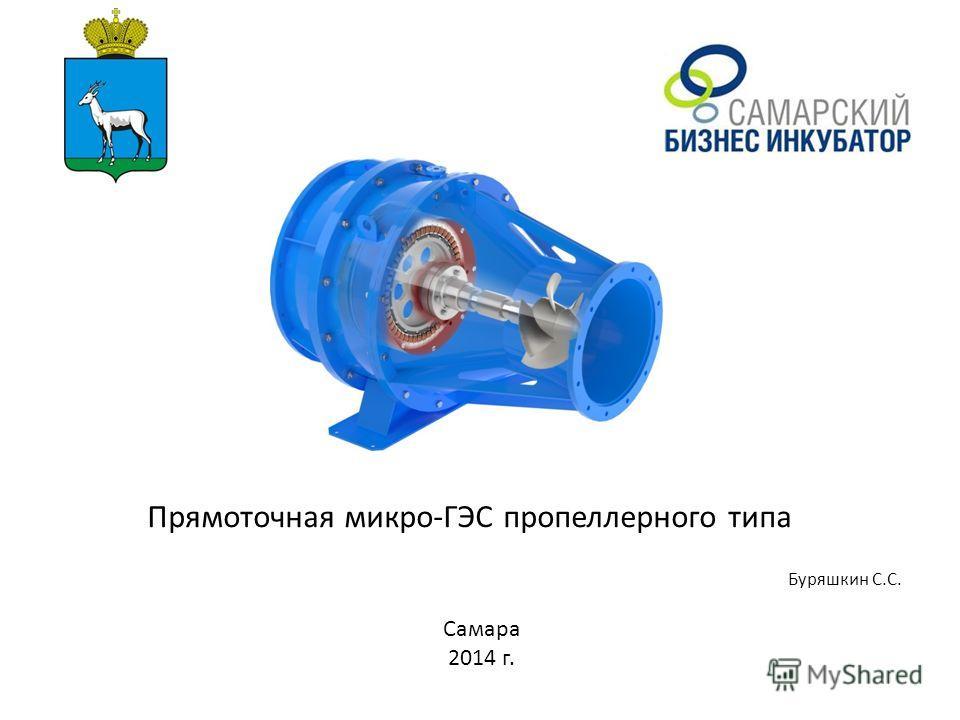 Имя руководителя бизнес-идеи, проекта Прямоточная микро-ГЭС пропеллерного типа Буряшкин С.С. Самара 2014 г.