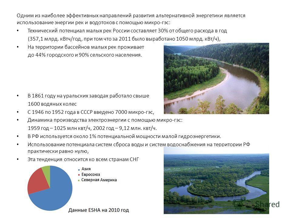 Одним из наиболее эффективных направлений развития альтернативной энергетики является использование энергии рек и водотоков с помощью микро-гэс: Технический потенциал малых рек России составляет 30% от общего расхода в год (357,1 млрд. к Втч/год, при