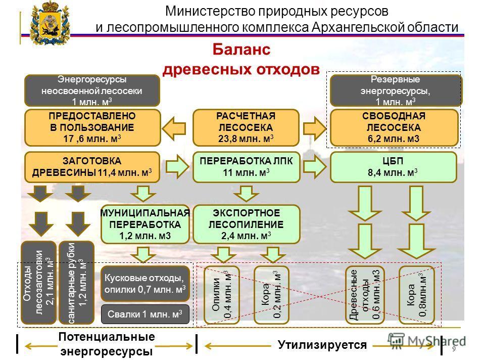 Министерство природных ресурсов и лесопромышленного комплекса Архангельской области Баланс древесных отходов РАСЧЕТНАЯ ЛЕСОСЕКА 23,8 млн. м 3 ПЕРЕРАБОТКА ЛПК 11 млн. м 3 ЦБП 8,4 млн. м 3 ПРЕДОСТАВЛЕНО В ПОЛЬЗОВАНИЕ 17,6 млн. м 3 ЭКСПОРТНОЕ ЛЕСОПИЛЕНИ