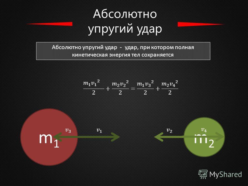Абсолютно упругий удар Абсолютно упругий удар - удар, при котором полная кинетическая энергия тел сохраняется m1m1 m2m2
