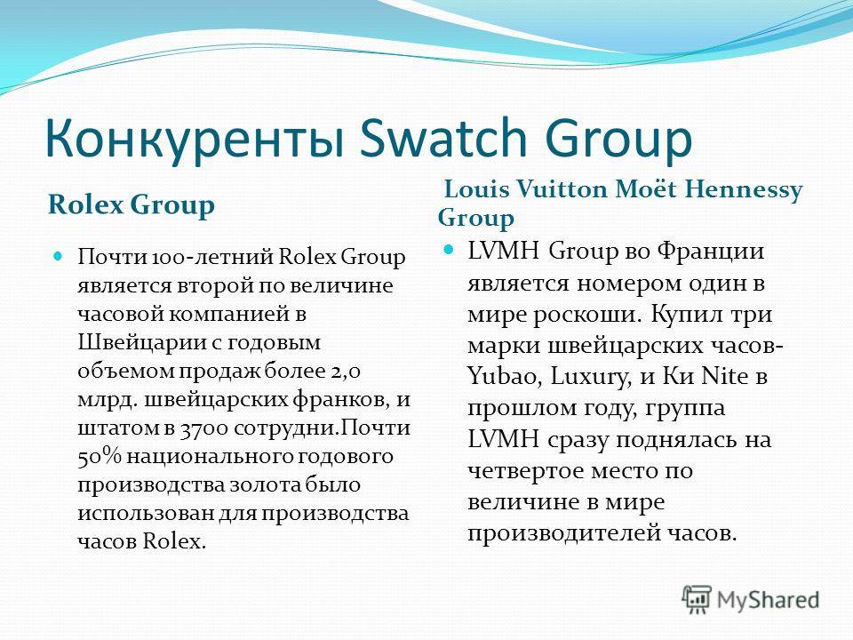 Конкуренты Swatch Group Rolex Group Louis Vuitton Moët Hennessy Group Почти 100-летний Rolex Group является второй по величине часовой компанией в Швейцарии с годовым объемом продаж более 2,0 млрд. швейцарских франков, и штатом в 3700 сотрудни.Почти
