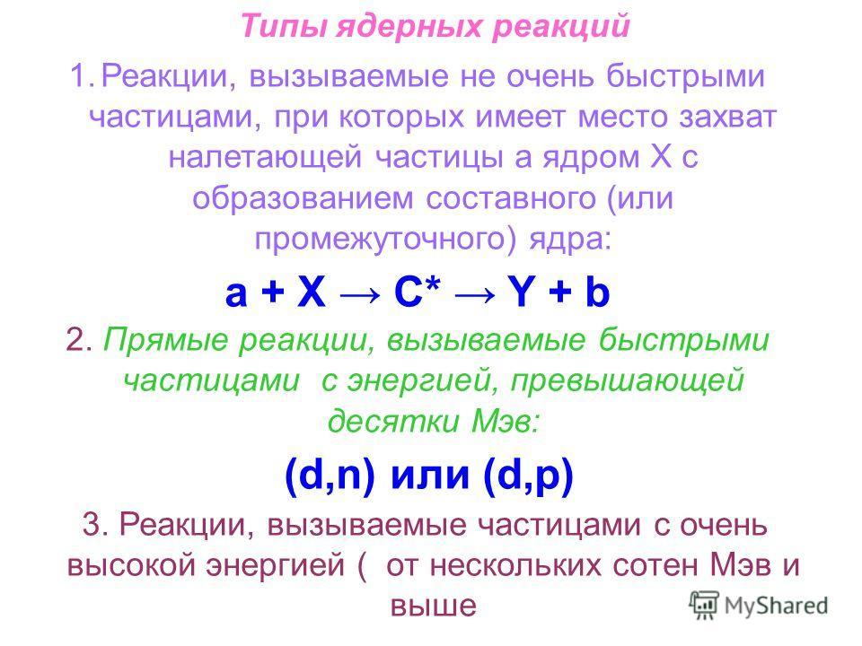 Типы ядерных реакций 1.Реакции, вызываемые не очень быстрыми частицами, при которых имеет место захват налетающей частицы а ядром Х с образованием составного (или промежуточного) ядра: a + X С* Y + b 2. Прямые реакции, вызываемые быстрыми частицами с