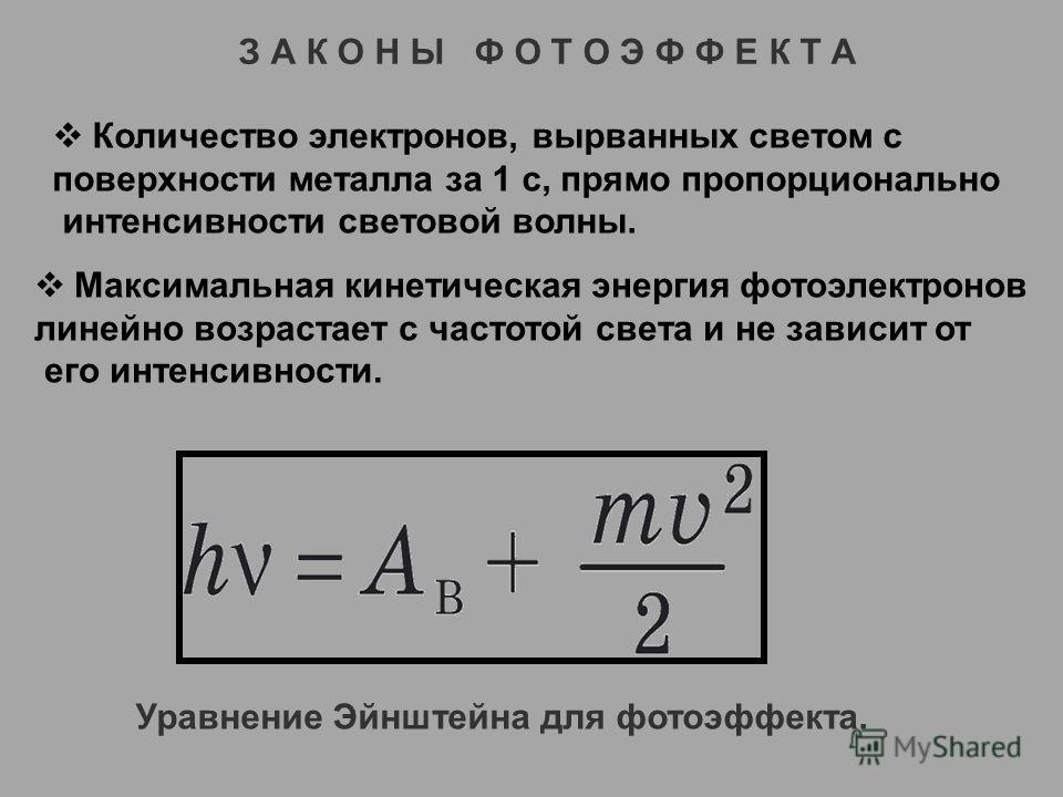 З А К О Н Ы Ф О Т О Э Ф Ф Е К Т А Количество электронов, вырванных светом с поверхности металла за 1 с, прямо пропорционально интенсивности световой волны. Максимальная кинетическая энергия фотоэлектронов линейно возрастает с частотой света и не зави