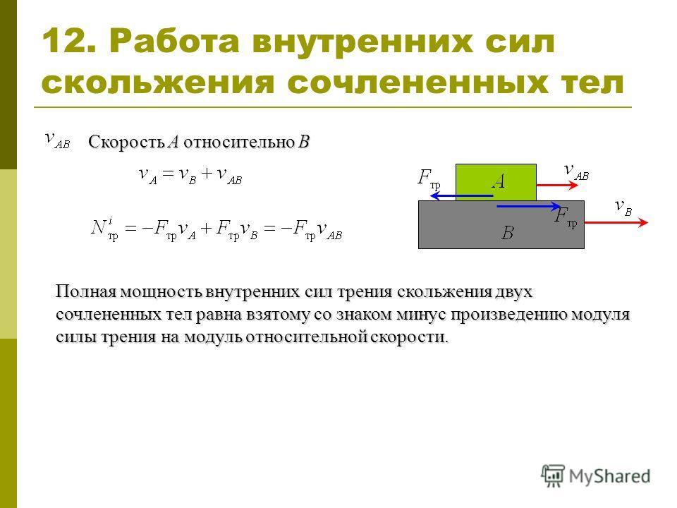12. Работа внутренних сил скольжения сочлененных тел Полная мощность внутренних сил трения скольжения двух сочлененных тел равна взятому со знаком минус произведению модуля силы трения на модуль относительной скорости. Скорость A относительно B