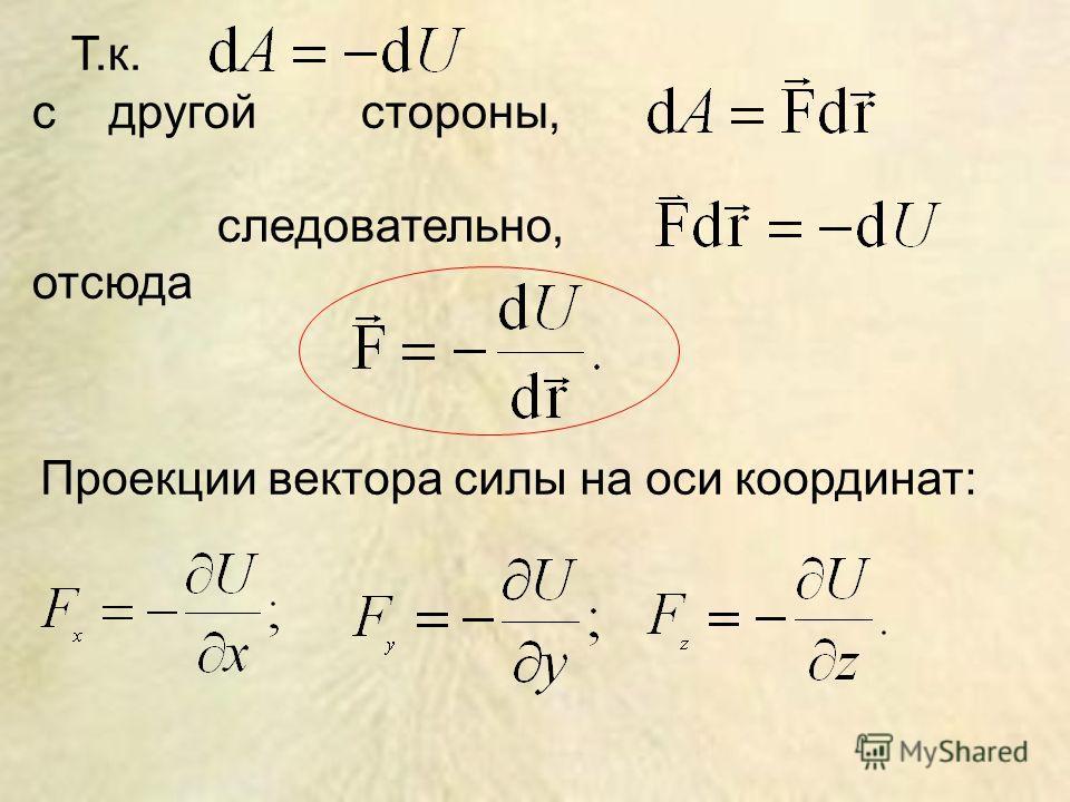 Т.к. с другой стороны, следовательно, отсюда Проекции вектора силы на оси координат: