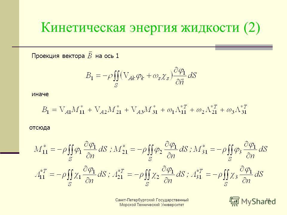 Санкт-Петербургский Государственный Морской Технический Университет 14 Кинетическая энергия жидкости (2) Проекция вектора на ось 1 иначе отсюда
