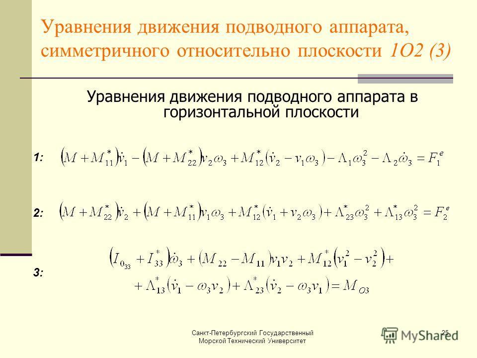 Санкт-Петербургский Государственный Морской Технический Университет 25 Уравнения движения подводного аппарата, симметричного относительно плоскости 1О2 (3) Уравнения движения подводного аппарата в горизонтальной плоскости 1: 2: 3: