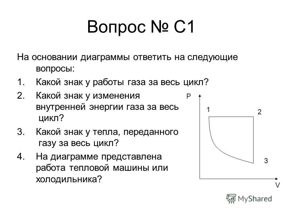 Вопрос С1 На основании диаграммы ответить на следующие вопросы: 1.Какой знак у работы газа за весь цикл? 2.Какой знак у изменения внутренней энергии газа за весь цикл? 3.Какой знак у тепла, переданного газу за весь цикл? 4.На диаграмме представлена р