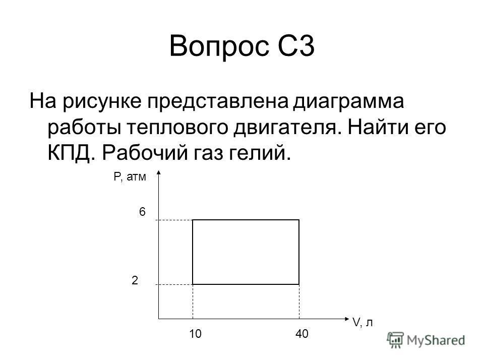 Вопрос С3 На рисунке представлена диаграмма работы теплового двигателя. Найти его КПД. Рабочий газ гелий. P, атм V, л 2 6 1040