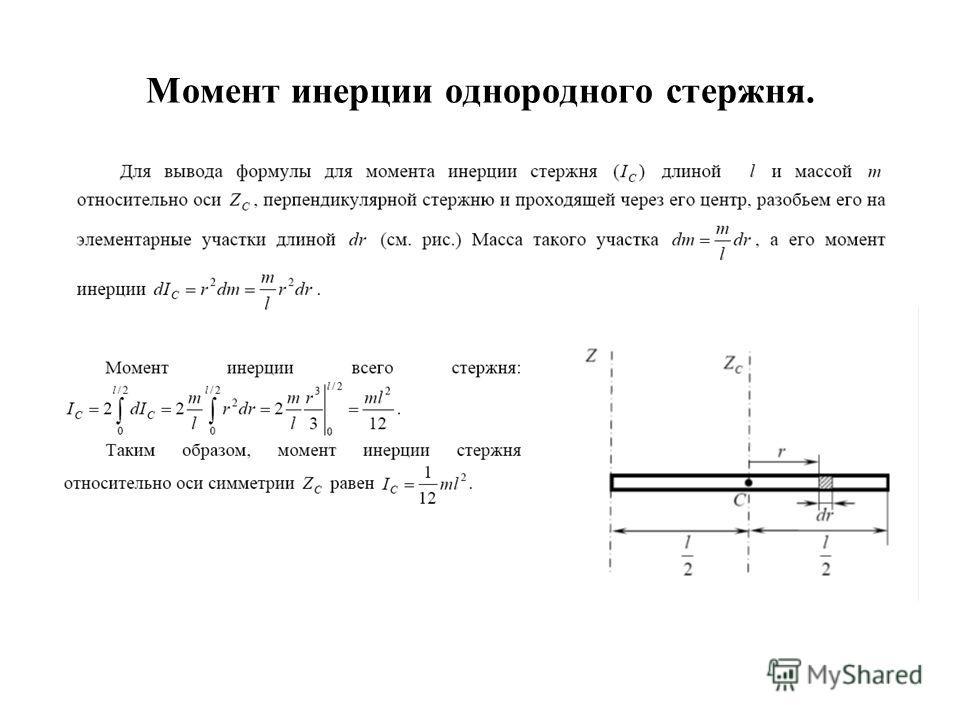 Момент инерции однородного стержня.