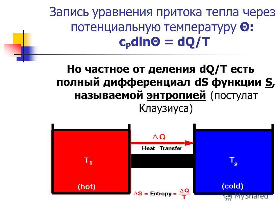 Запись уравнения притока тепла через потенциальную температуру Θ: c P dlnΘ = dQ/T Но частное от деления dQ/T есть полный дифференциал dS функции S, называемой энтропией (постулат Клаузиуса)