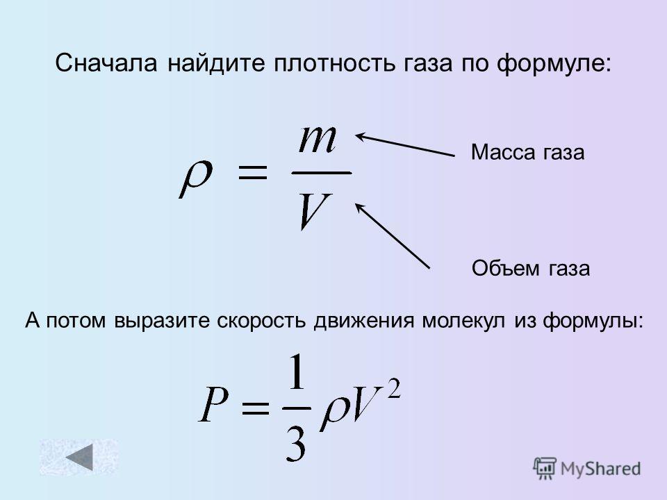 Формулы физики о газе
