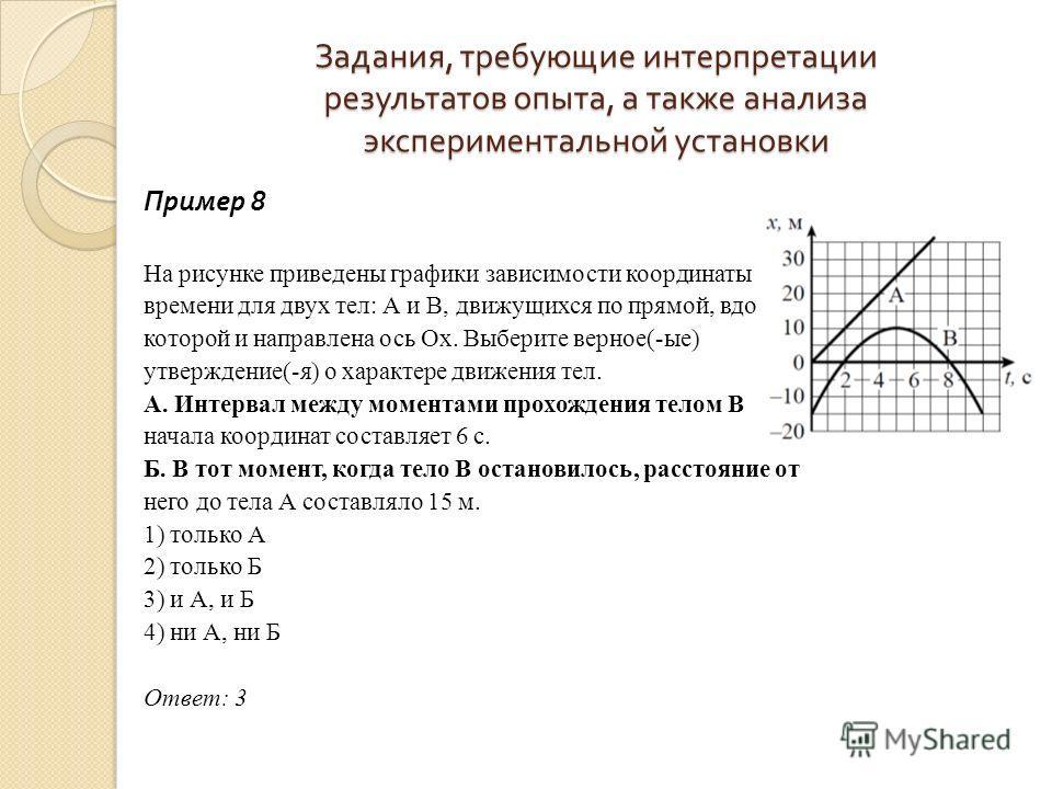 Задания, требующие интерпретации результатов опыта, а также анализа экспериментальной установки Пример 8 На рисунке приведены графики зависимости координаты от времени для двух тел: А и В, движущихся по прямой, вдоль которой и направлена ось Ох. Выбе