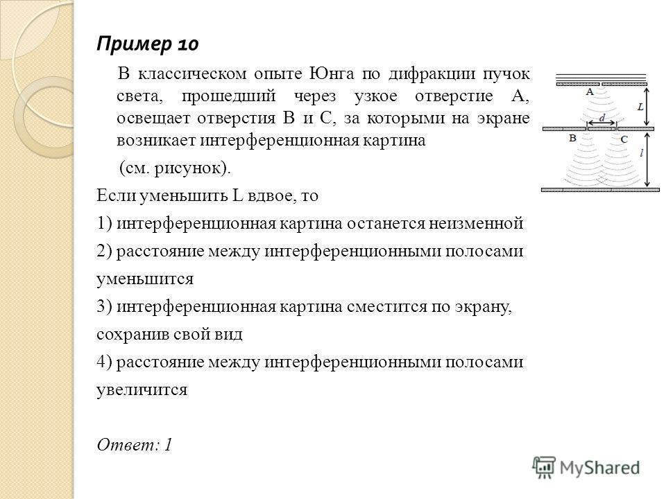 Пример 10 В классическом опыте Юнга по дифракции пучок света, прошедший через узкое отверстие А, освещает отверстия В и С, за которыми на экране возникает интерференционная картина (см. рисунок). Если уменьшить L вдвое, то 1) интерференционная картин