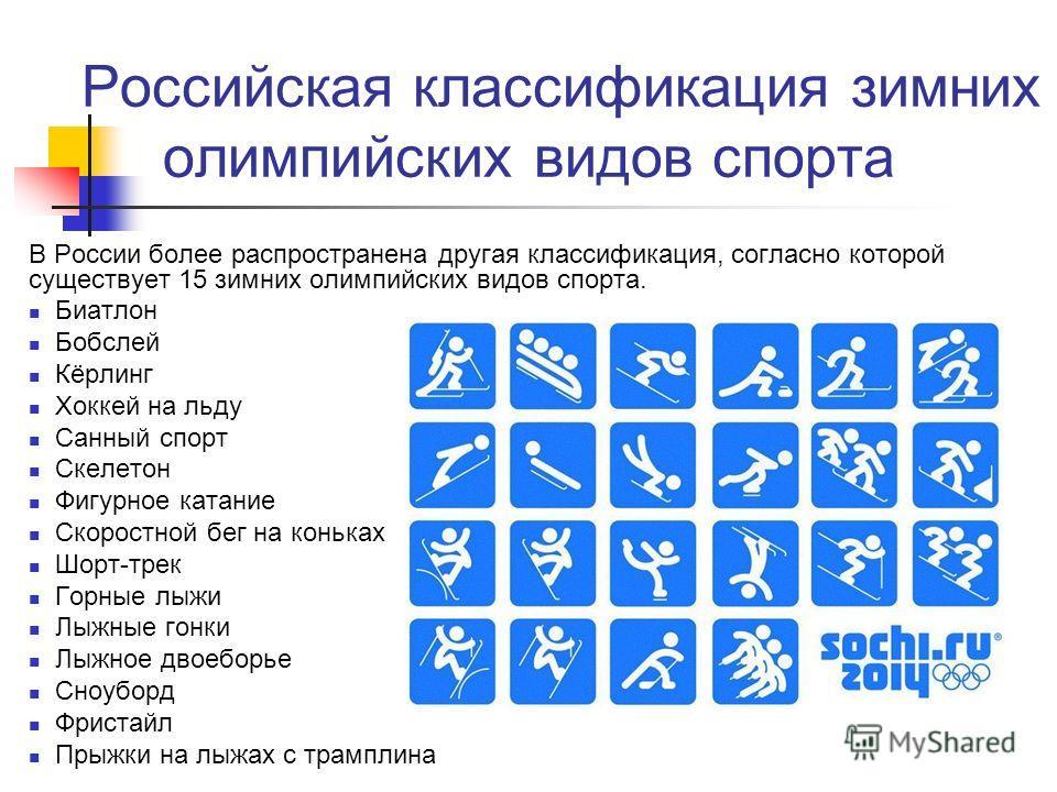 В России более распространена другая классификация, согласно которой существует 15 зимних олимпийских видов спорта. Биатлон Бобслей Кёрлинг Хоккей на льду Санный спорт Скелетон Фигурное катание Скоростной бег на коньках Шорт-трек Горные лыжи Лыжные г