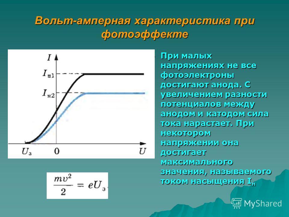 Вольт-амперная характеристика при фотоэффекте При малых напряжениях не все фотоэлектроны достигают анода. С увеличением разности потенциалов между анодом и катодом сила тока нарастает. При некотором напряжении она достигает максимального значения, на