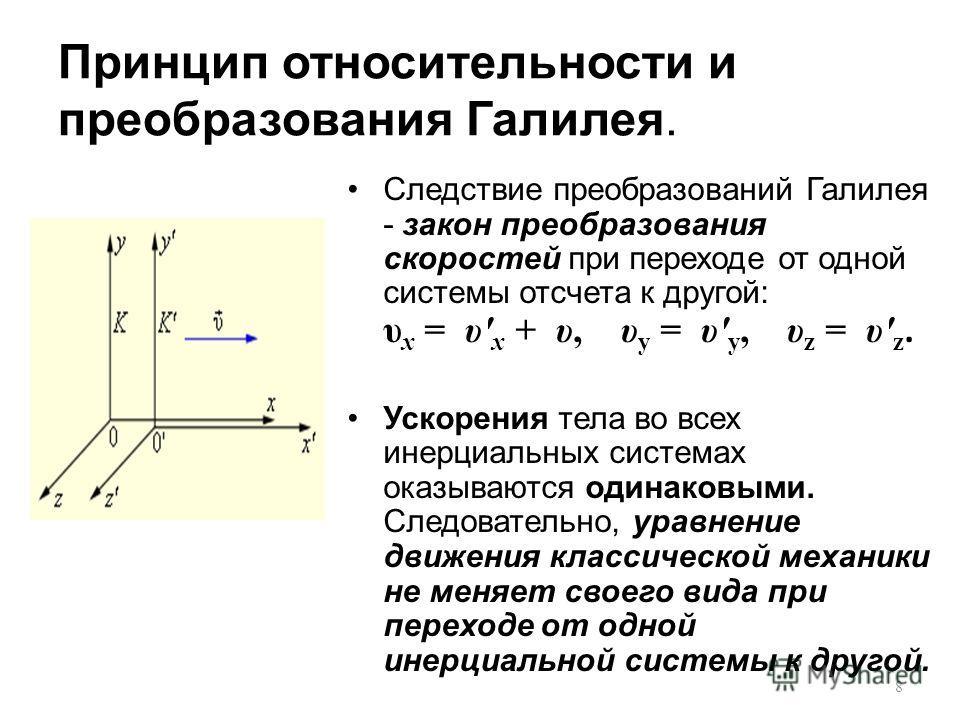 Принцип относительности и преобразования Галилея. Следствие преобразований Галилея - закон преобразования скоростей при переходе от одной системы отсчета к другой: υ x = υ' x + υ, υ y = υ' y, υ z = υ' z. Ускорения тела во всех инерциальных системах о