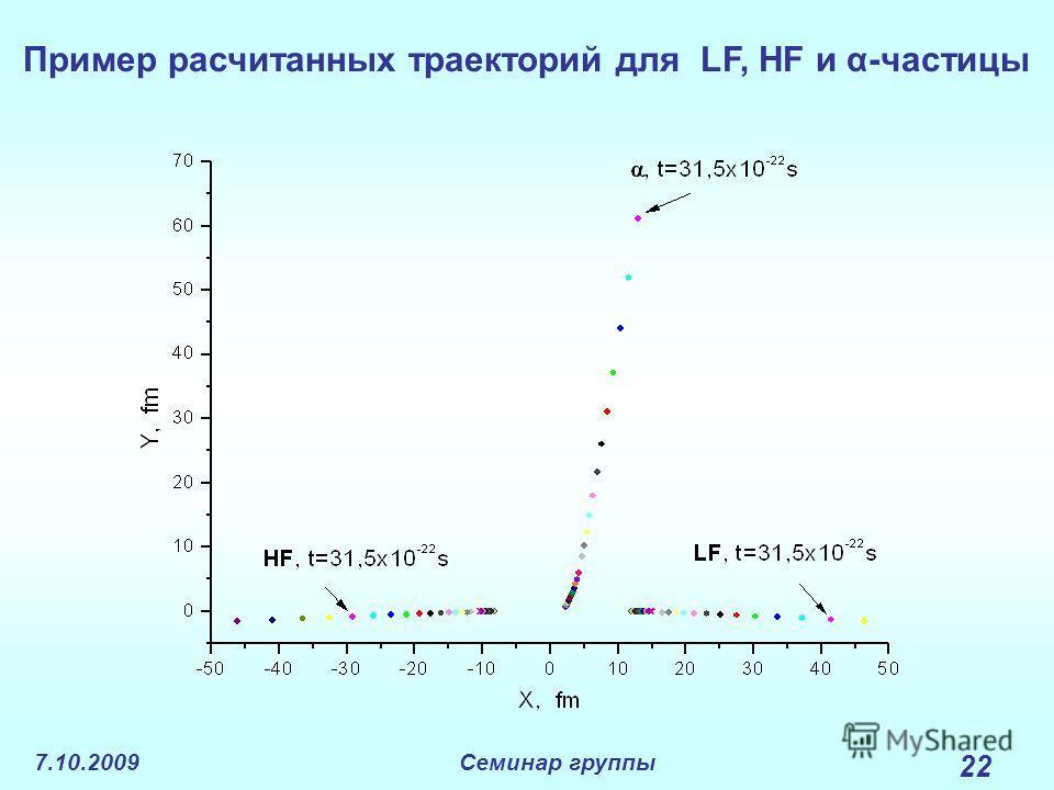 7.10.2009Семинар группы 22 Пример расчитанных траекторий для LF, HF и α-частицы