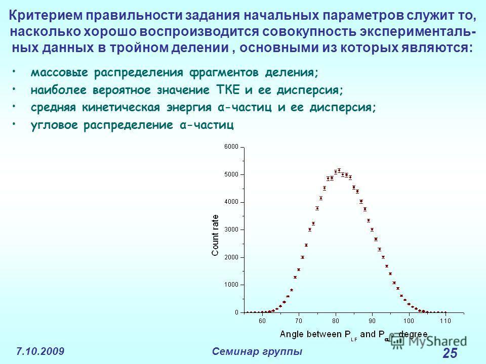 7.10.2009Семинар группы 25 Критерием правильности задания начальных параметров служит то, насколько хорошо воспроизводится совокупность эксперименталь- ных данных в тройном делении, основными из которых являются: массовые распределения фрагментов дел