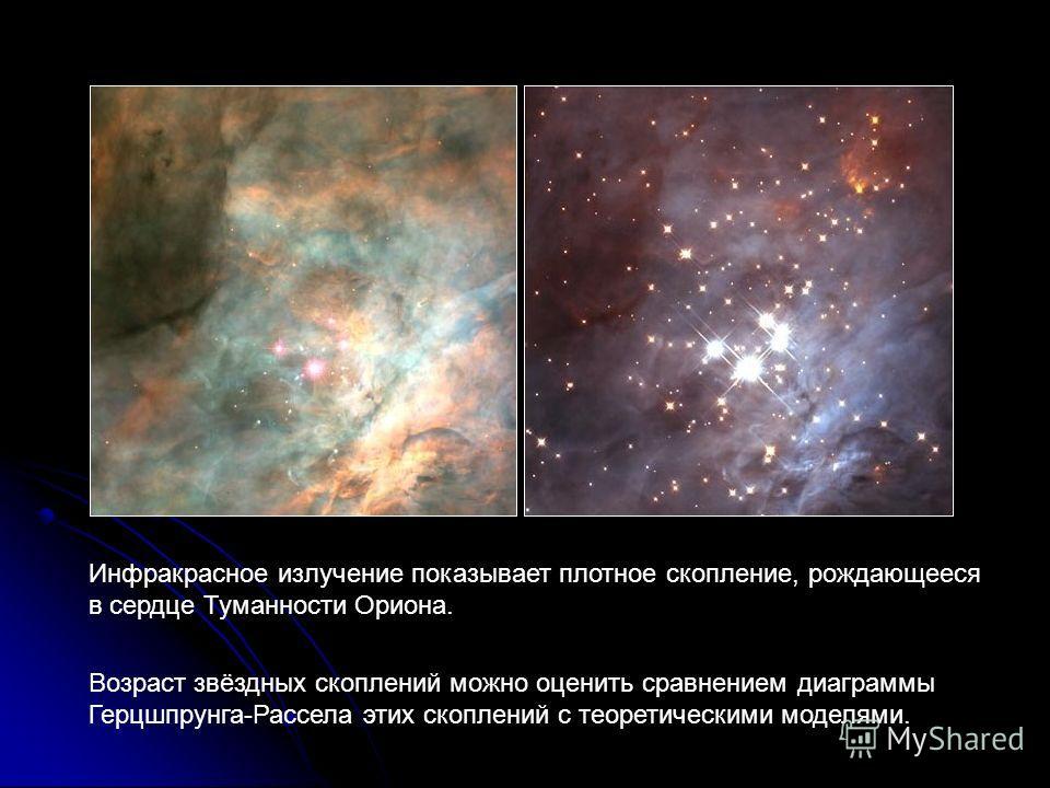 Инфракрасное излучение показывает плотное скопление, рождающееся в сердце Туманности Ориона. Возраст звёздных скоплений можно оценить сравнением диаграммы Герцшпрунга-Рассела этих скоплений с теоретическими моделями.