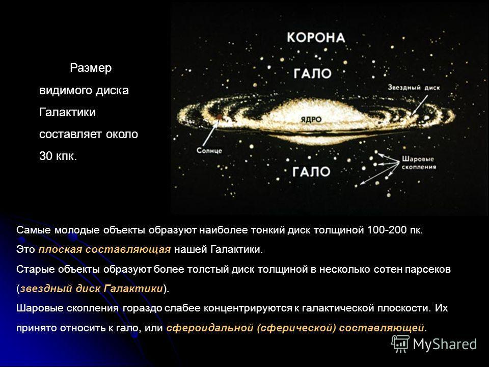 Размер видимого диска Галактики составляет около 30 кпк. Самые молодые объекты образуют наиболее тонкий диск толщиной 100-200 пк. Это плоская составляющая нашей Галактики. Старые объекты образуют более толстый диск толщиной в несколько сотен парсеков