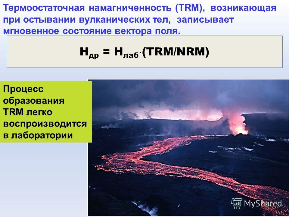 Н др = Н лаб (TRM/NRM) Термоостаточная намагниченность (TRM), возникающая при остывании вулканических тел, записывает мгновенное состояние вектора поля. Процесс образования TRM легко воспроизводится в лаборатории