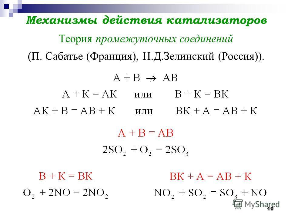 10 Механизмы действия катализаторов Теория промежуточных соединений (П. Сабатье (Франция), Н.Д.Зелинский (Россия)).