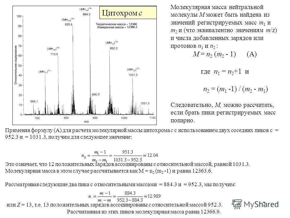 7 Применяя формулу (А) для расчета молекулярной массы цитохрома c с использованием двух соседних пиков с = 952.3 и = 1031.3, получим для следующее значение: Это означает, что 12 положительных зарядов ассоциированы с относительной массой, равной 1031.