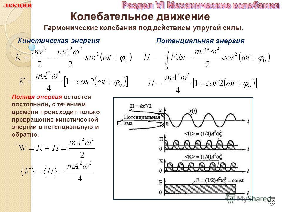 Колебательное движение Гармонические колебания под действием упругой силы. Кинетическая энергия Потенциальная энергия Полная энергия остается постоянной, с течением времени происходит только превращение кинетической энергии в потенциальную и обратно.