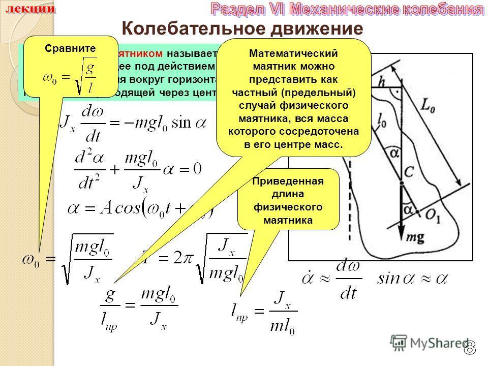 Колебательное движение 3. Физическим маятником называется твердое тело, совершающее под действием силы тяжести колебания вокруг горизонтальной оси подвеса, не проходящей через центр масс тела. Сравните Приведенная длина физического маятника Математич