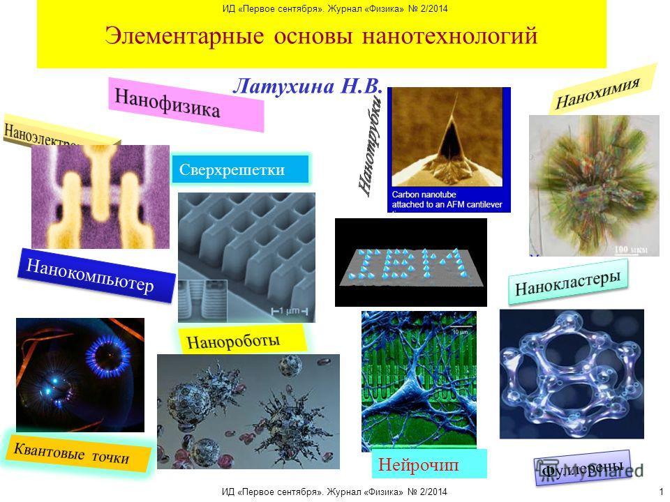 Элементарные основы нанотехнологий Латухина Н.В. Фуллерены Сверхрешетки Нанокомпьютер Нейрочип ИД «Первое сентября». Журнал «Физика» 2/2014 1